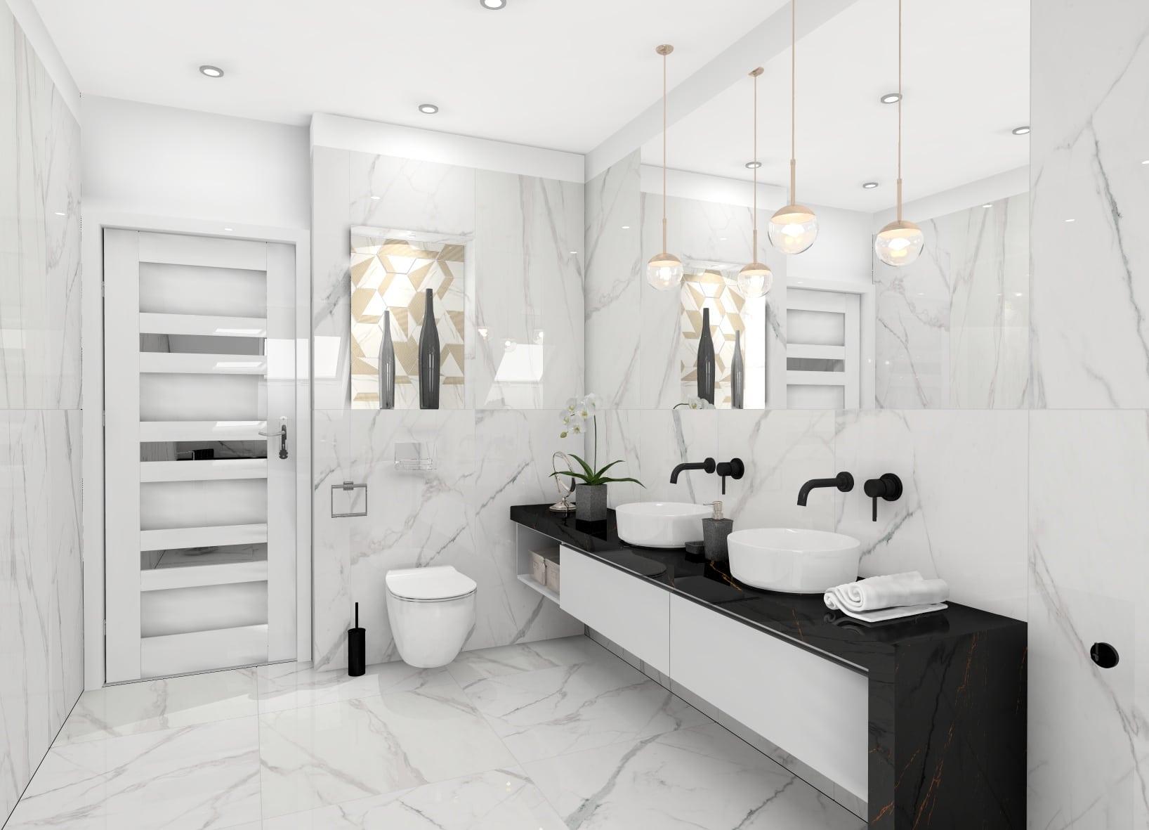 Biało Czarna łazienka Dominopl