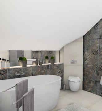 Odprężenie i relaks w gustownej łazience z motywem roślinnym