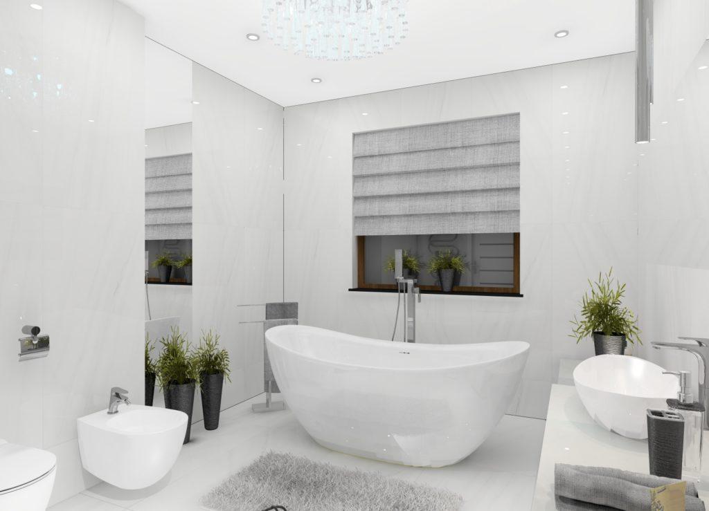 Salon łazienkowy zaklęty w marmurowej barwie